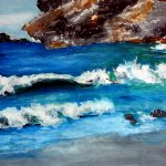 Wasser; Wellen zur Küste hin
