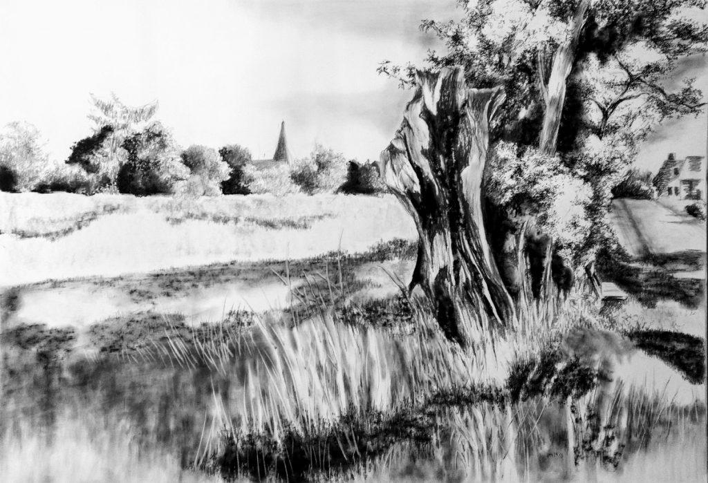 Zeichnung mit Kohle und Feinliner