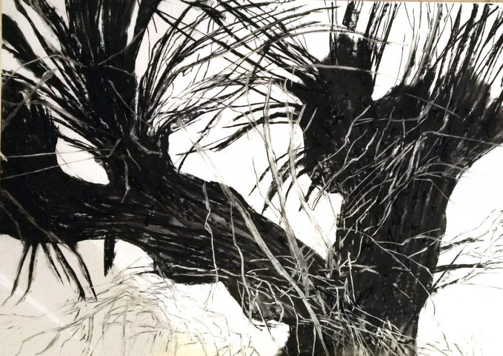 Zeichnung mit Kohle und weißer Kreide