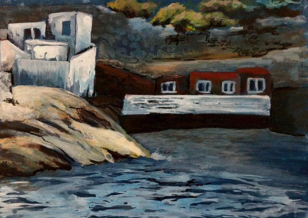 Auf Indigo gemalte Bucht mit Häusern